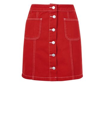 Red Denim Button Front A-Line Skirt New Look