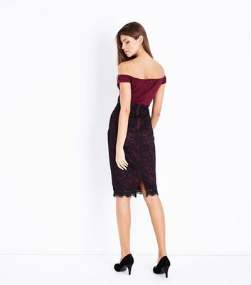 AX Paris Dark Red Lace Bardot Neck Midi Dress New Look