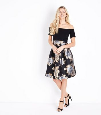AX Paris Black Floral Metallic Pattern Dress New Look