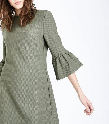 Olive Green Bell Sleeve Jersey Tunic Dress New Look