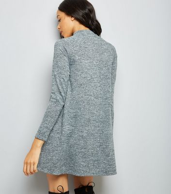 Grey High Neck Swing Dress New Look