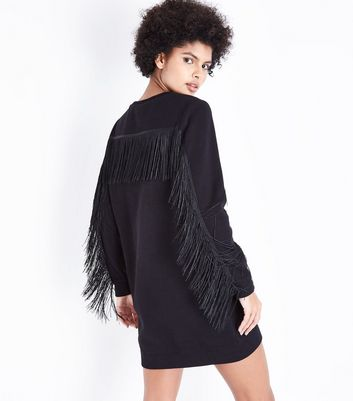 Black Fringe Sleeve Sweater Dress New Look