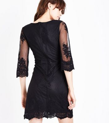 Mela Black Floral Embroidered Sleeve Dress New Look