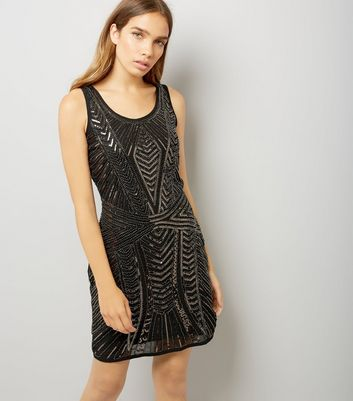 Mela Black Sequin Embellished Dress New Look