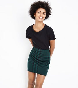 Dark Green Wide Check Jersey Tube Skirt New Look