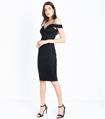 AX Paris Black Lace Sweetheart Neck Midi Dress New Look