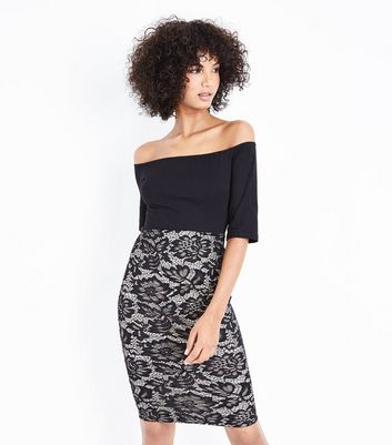 AX Paris Black Lace Skirt Bardot Neck Dress New Look