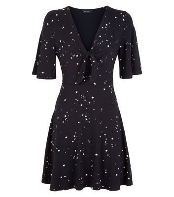 Black Star Print Tie Front Skater Dress New Look