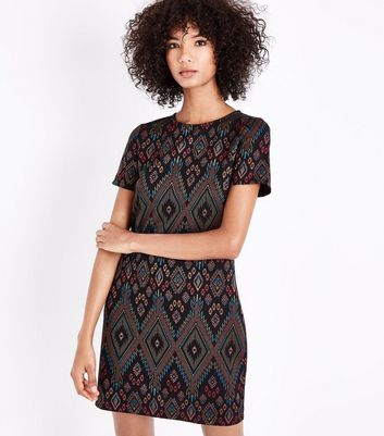 Multi Coloured Diamond Print Tunic Dress New Look