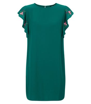 Green Embroidered Frill Sleeve Tunic Dress New Look