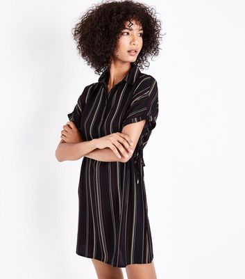 Black Stripe Toggle Waist Shirt Dress New Look