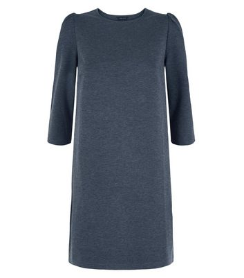 Grey Puff Sleeve Jersey Tunic Dress New Look