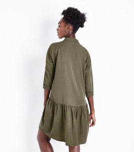 Khaki Peplum Hem Shirt Dress New Look