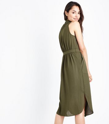 Khaki Ladder Trim Sleeveless Shirt Dress New Look