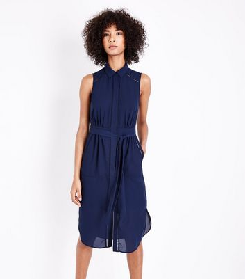 Navy Ladder Trim Sleeveless Midi Dress New Look