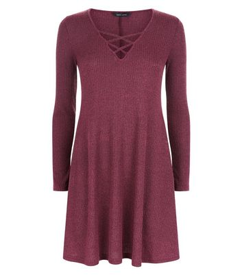 Burgundy Marl Ribbed Lattice Front Swing Dress New Look