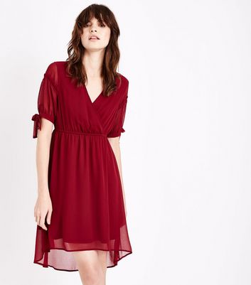 Burgundy Dip Hem Wrap Front Dress New Look