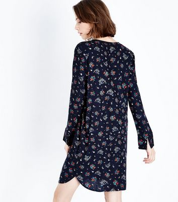 JDY Navy Floral Print Long Sleeve Dress New Look