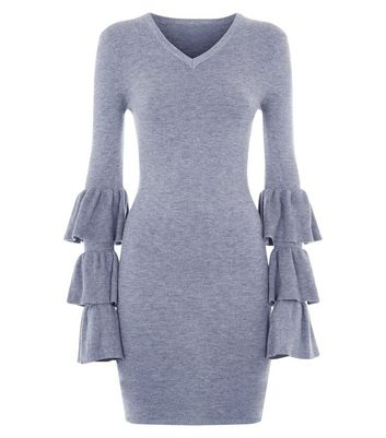 Mela Grey Tiered Sleeves Bodycon Dress New Look