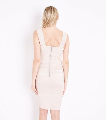 Shell Pink Bandage Bodycon Dress New Look