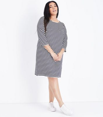 Curves Blue Stripe 3/4 Sleeve Jersey Tunic Dress New Look