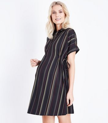 Maternity Black Stripe Drawstring Side Shirt Dress New Look