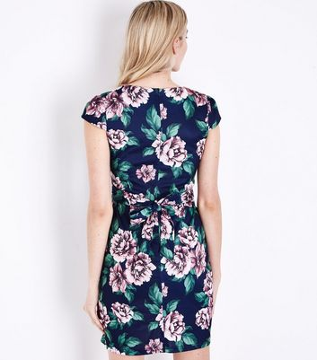 Blue Vanilla Navy Floral Cap Sleeve Mini Dress New Look
