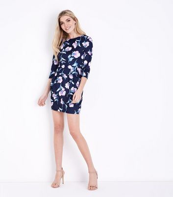 Blue Vanilla Navy Floral Pocket Front Tulip Dress New Look