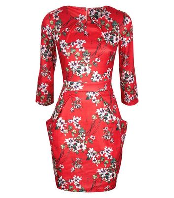Blue Vanilla Red Floral Pocket Front Tulip Dress New Look