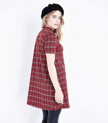 Red Check Jacquard High Neck Dress New Look