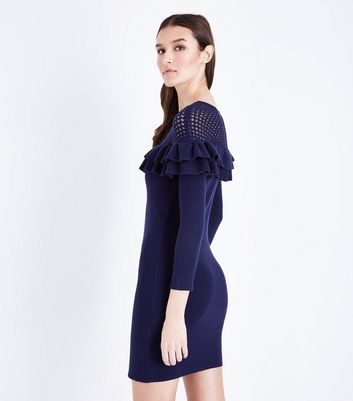 Mela Navy Frill Pointelle Yoke Knit Dress New Look