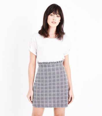 Grey Prince of Wales Check Paperbag Mini Skirt New Look