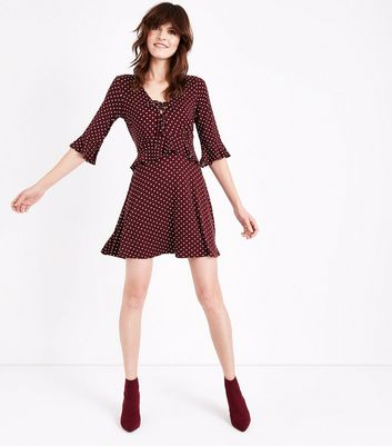 Red Spot Print Lace Up Frill Trim Skater Dress New Look