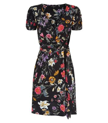 Tall Black Floral Wrap Front Mini Dress New Look
