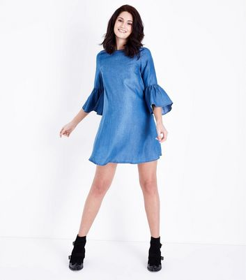Maternity Blue Tencel Denim Tunic Dress New Look