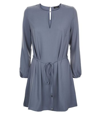Petite Grey Keyhole Belted Tunic Dress New Look