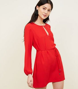 Petite Red Keyhole Belted Tunic Dress New Look