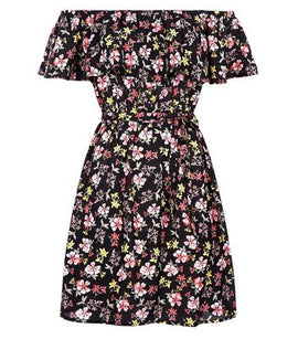 Black Floral Frill Trim Bardot Neck Dress New Look
