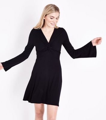Black Twist Front Flared Sleeve Jersey Dress New Look