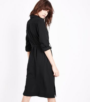 Black Long Sleeve Pocket Front Shirt Dress New Look
