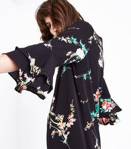 Cameo Rose Black Floral Tiered Sleeve Shift Dress New Look