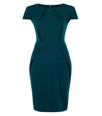 Blue Vanilla Curves Teal Tie Back Tulip Dress New Look