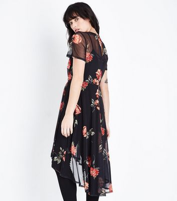 Black Floral Mesh Dip Hem Dress New Look