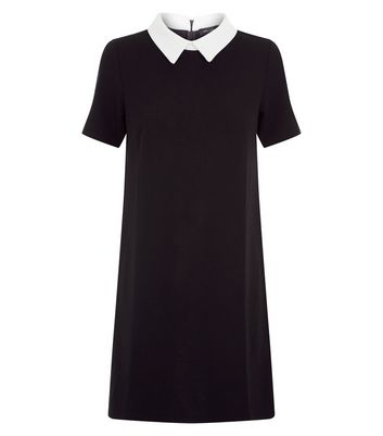 Black Contrast Collar Tunic Dress New Look
