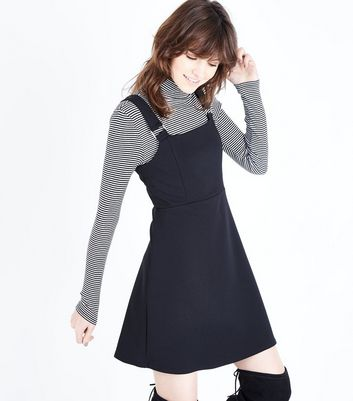 Black Crepe Scuba Pinafore Dress New Look