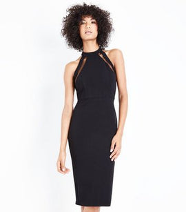AX Paris Black Mesh Panel Strappy Midi Dress New Look