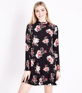 Black Floral Soft Touch Jersey Swing Dress New Look