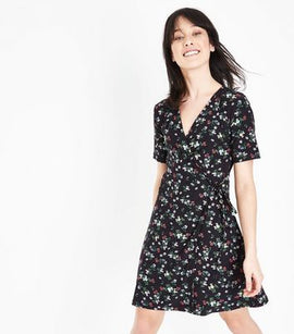 Black Floral Soft Touch Wrap Front Dress New Look