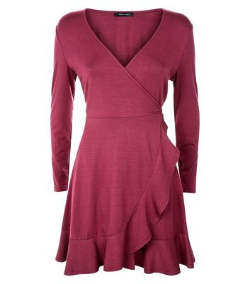 Dark Red Frill Trim Jersey Wrap Dress New Look