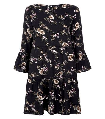 Black Floral Print Tiered Smock Dress New Look